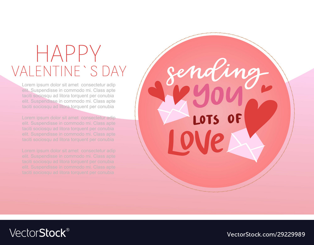 Happy valentines day lettering with cartoon red