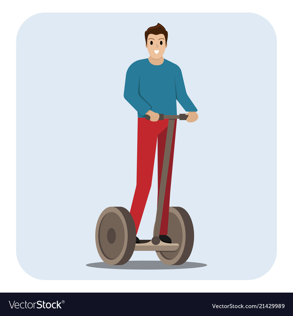 Man riding electric scooter