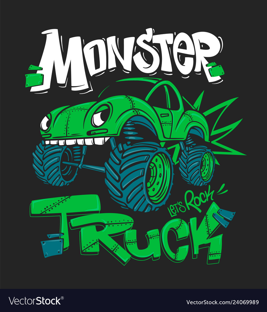 Monster Truck For T Shirt Prints Royalty Free Vector Image