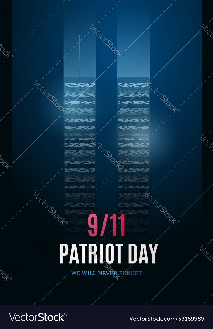 Patriot day banner with light building