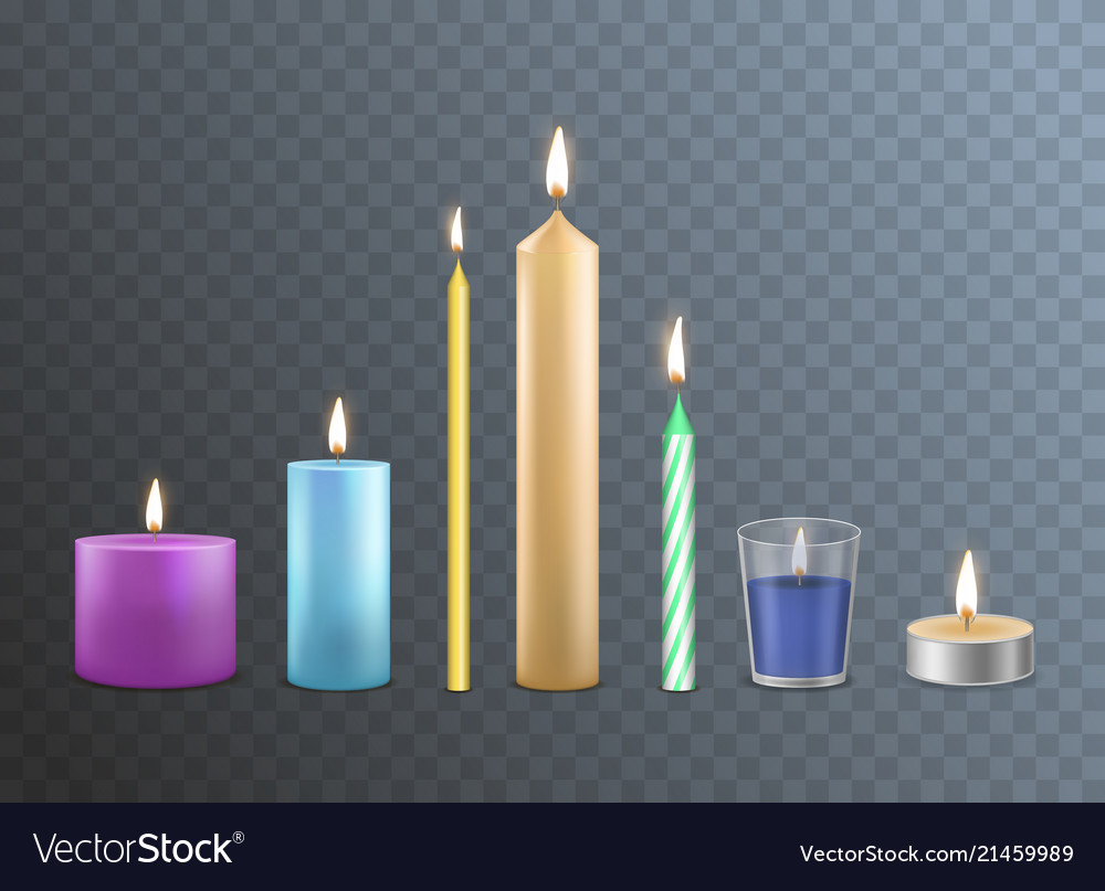 Realistic detailed 3d candles set