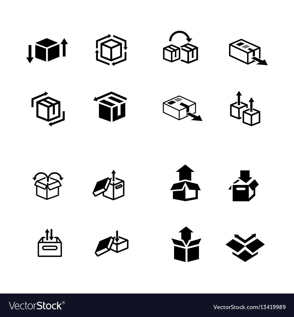 Set of box and arrow icons