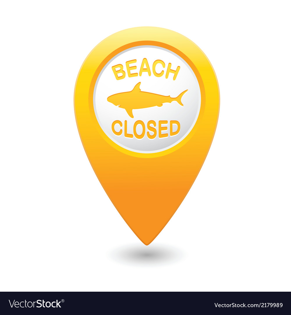 Shark sighting sign on yellow map pointer