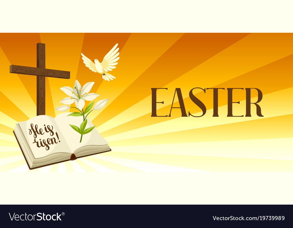 Silhouette of wooden cross with bible lily and