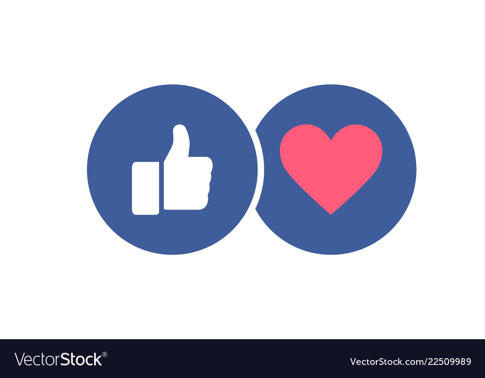 Stylish social media icons - like and heart thumb