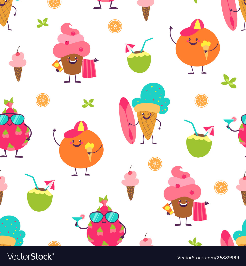 Summer cute pattern trendy seamless background