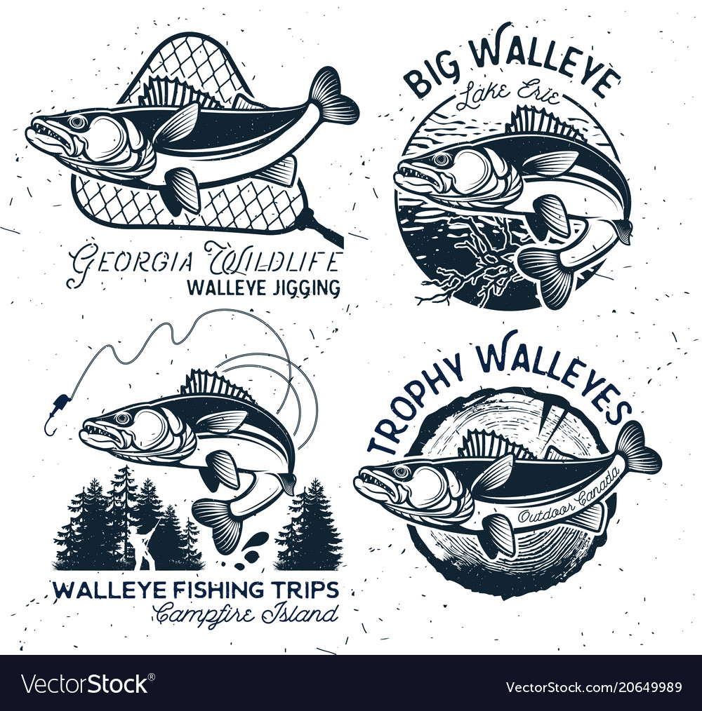 Vintage walleye fishing emblems and labels