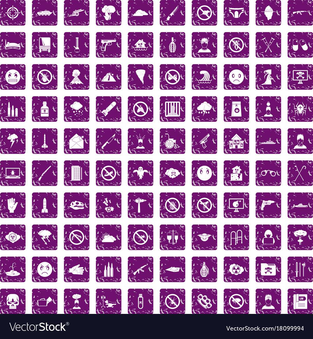 100 tension icons set grunge purple