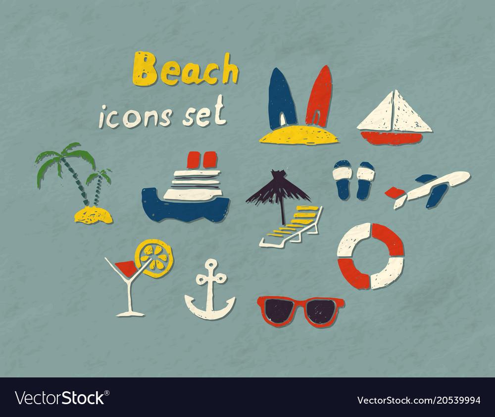 Beach hand drawn icons