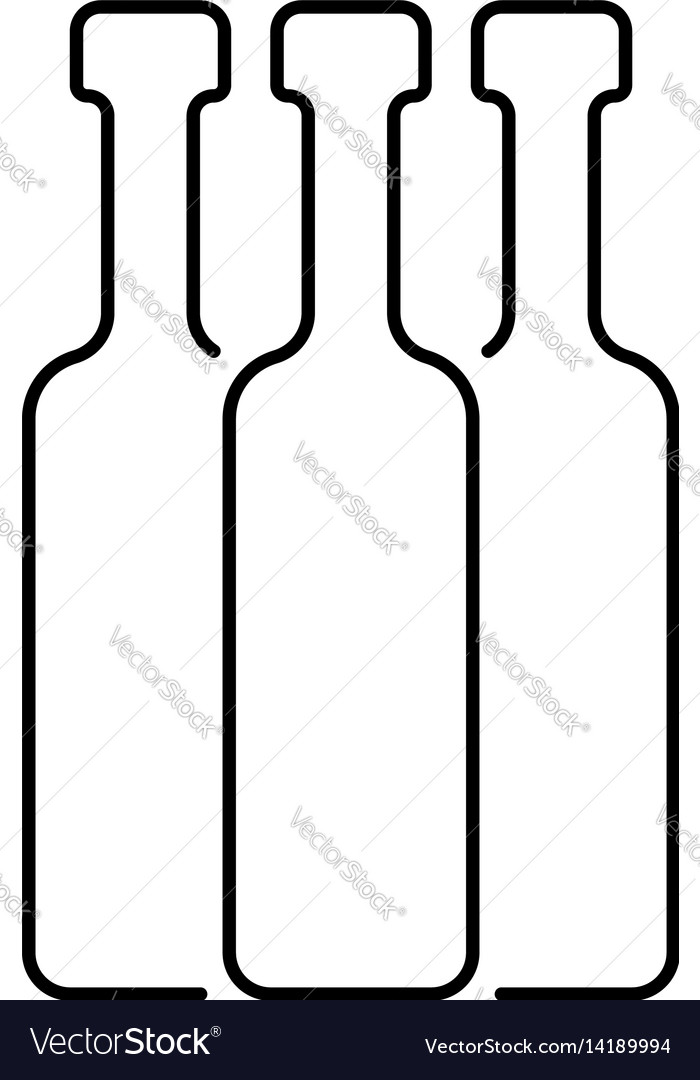 Black thin line bottles vector image