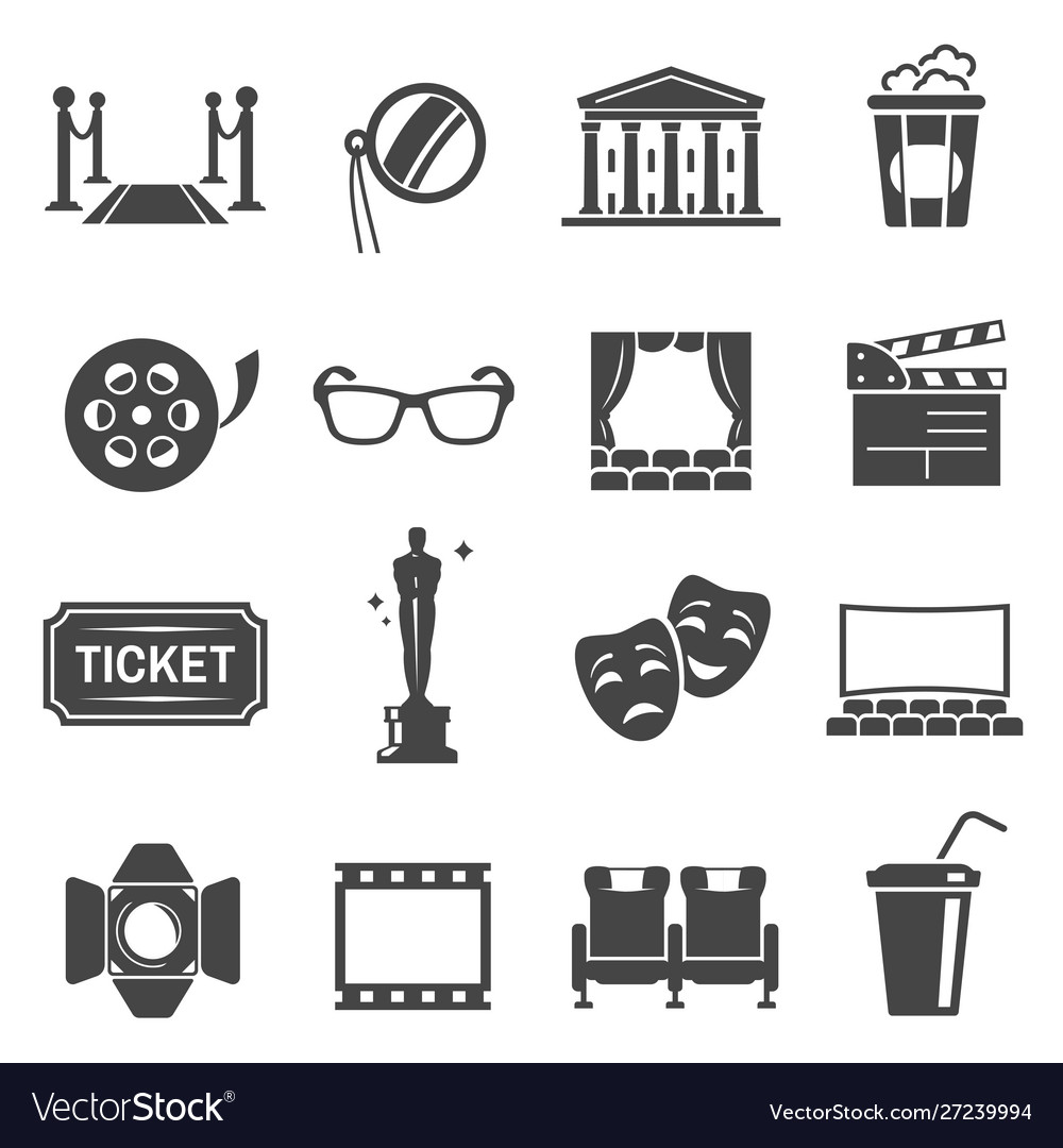 Cinema items black glyph icons set