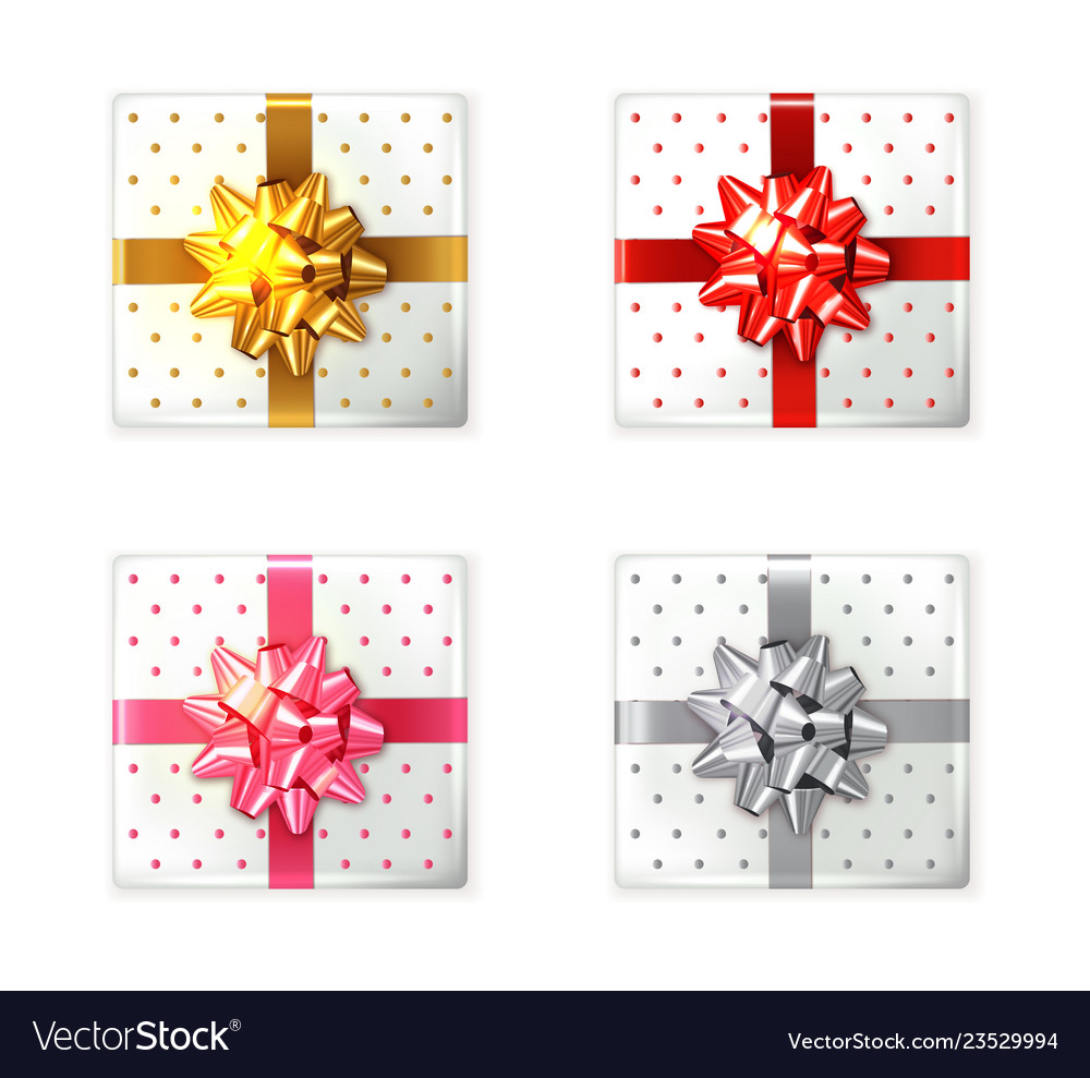 Colorful gift box set realistic product
