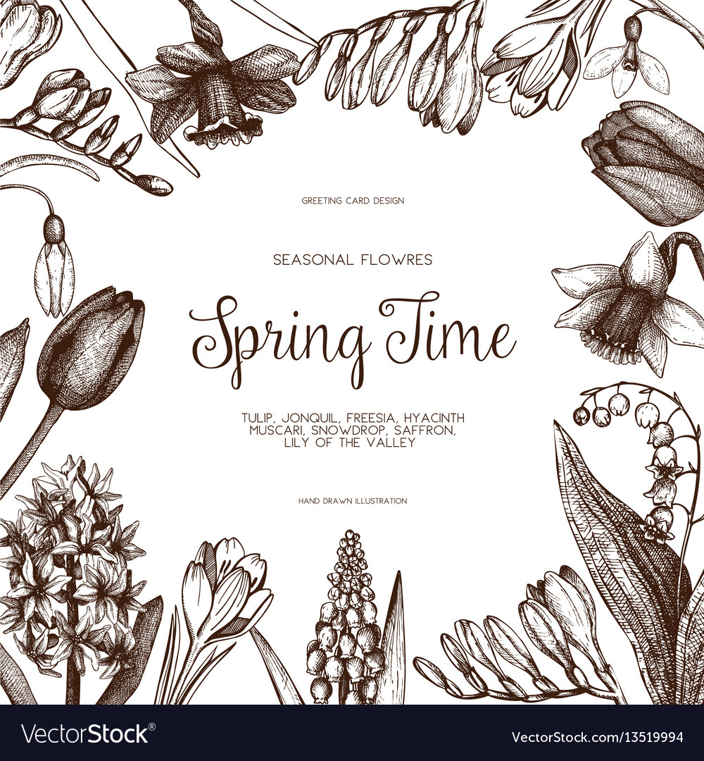 Design with hand drawn spring flowers