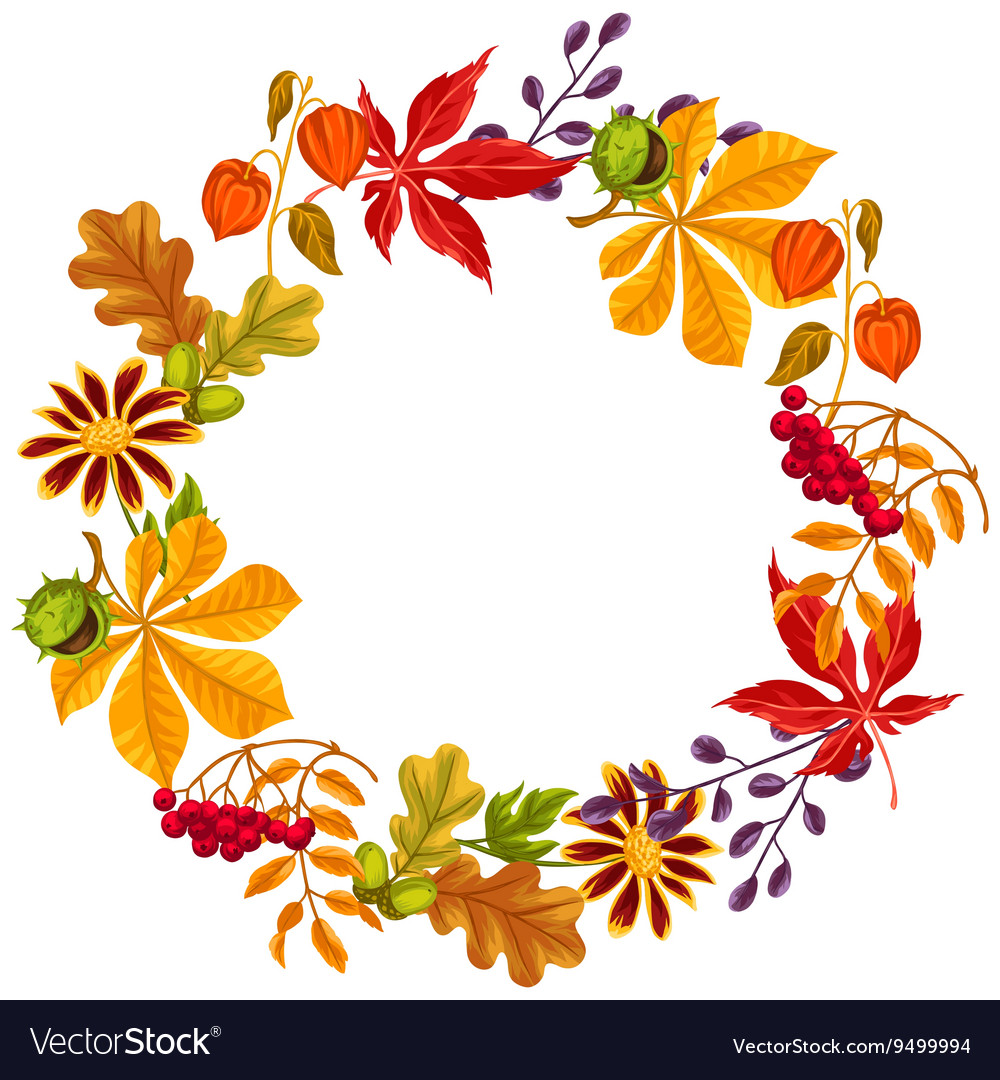 Frame with autumn leaves and plants Design for