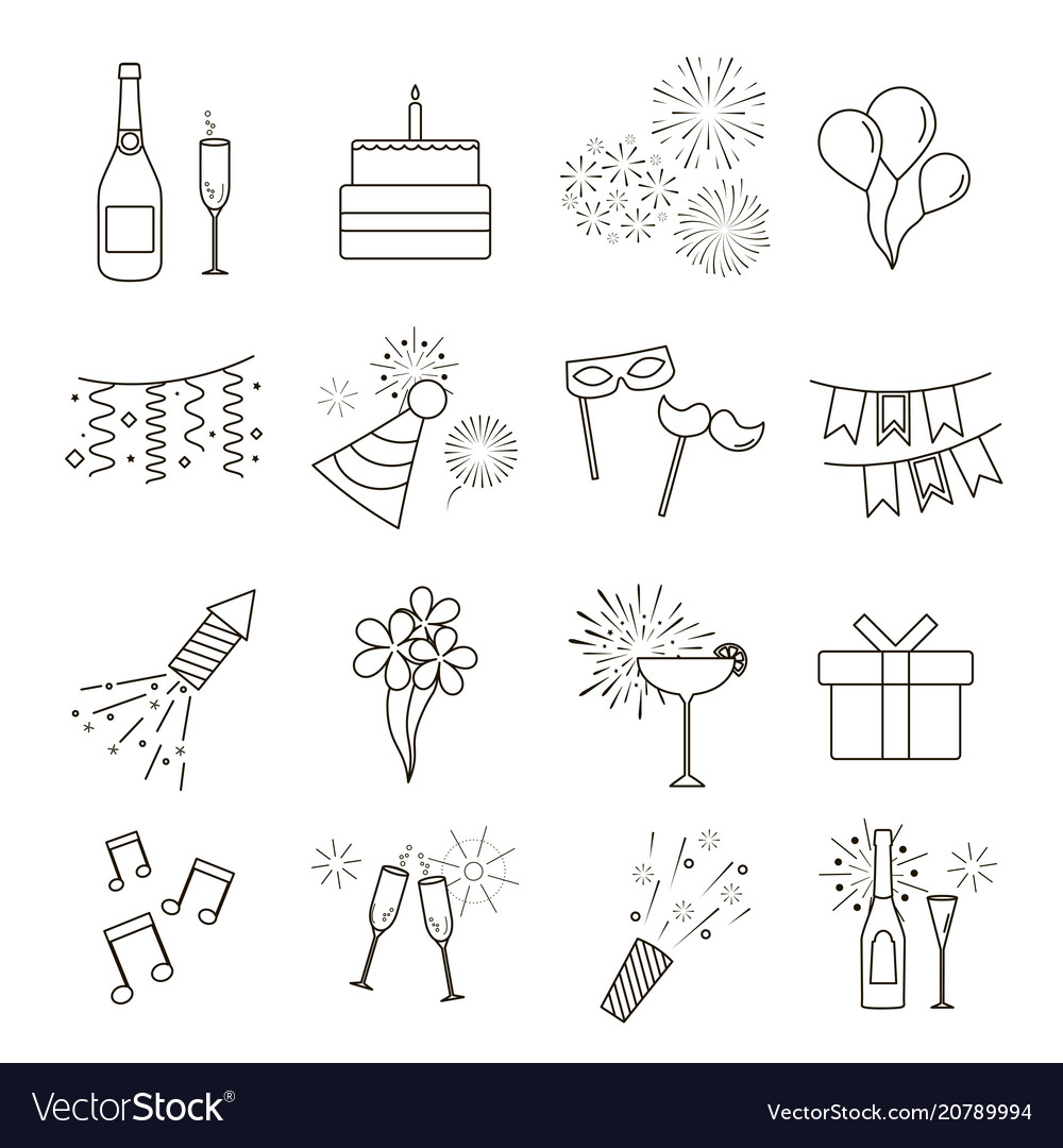 Line web icons of party celebration birthday and