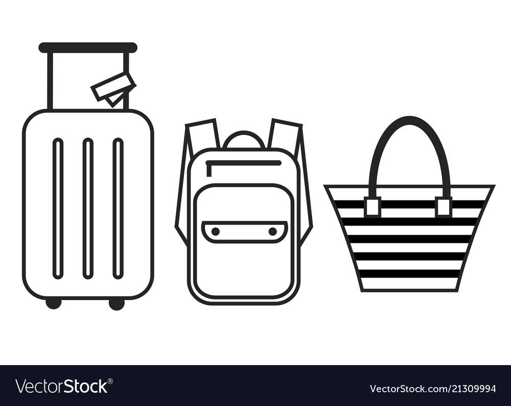 Luggage icon set backpack handbag and suitcase
