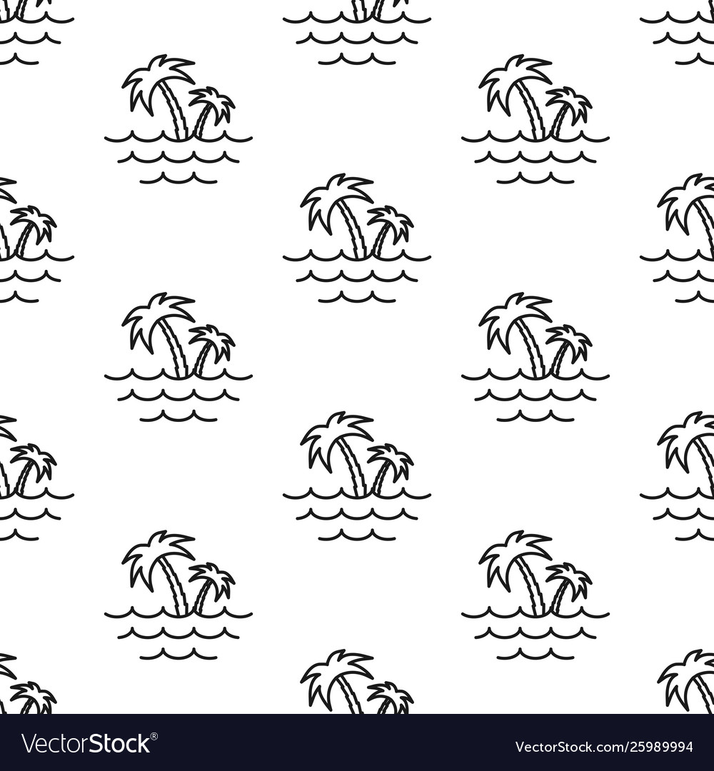 Palm trees and sea pattern seamless