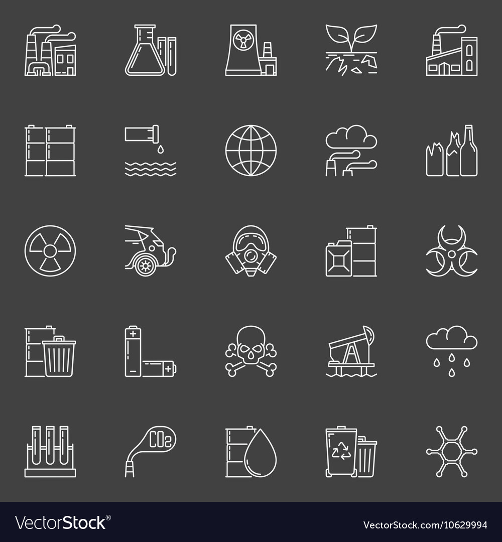 Pollution outline white icons
