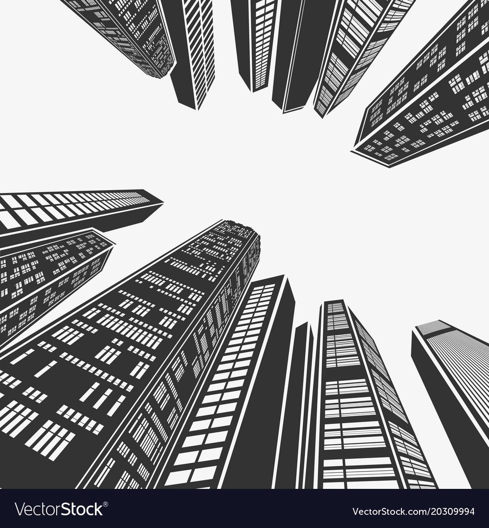 Top architecture skyscraper in perspective