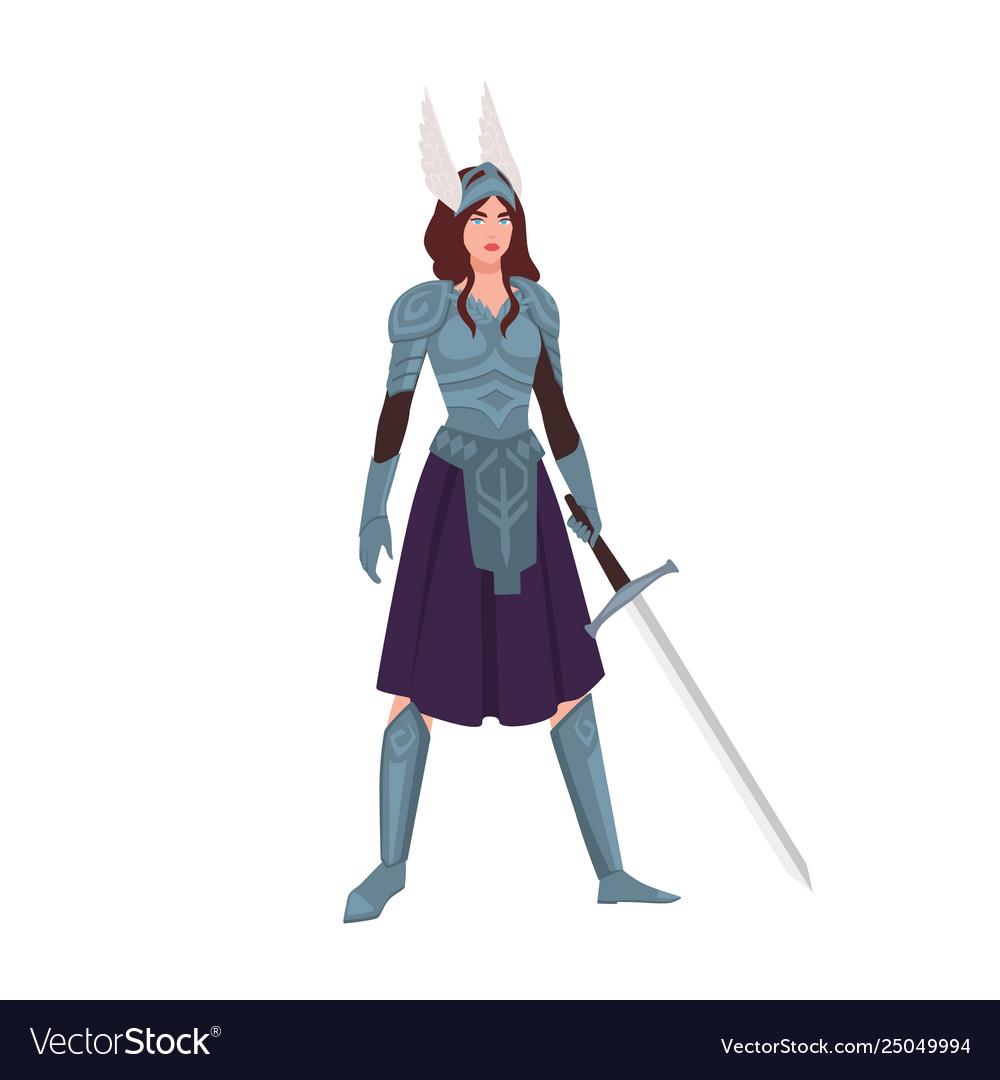 Valkyrie or mythological female warrior holding
