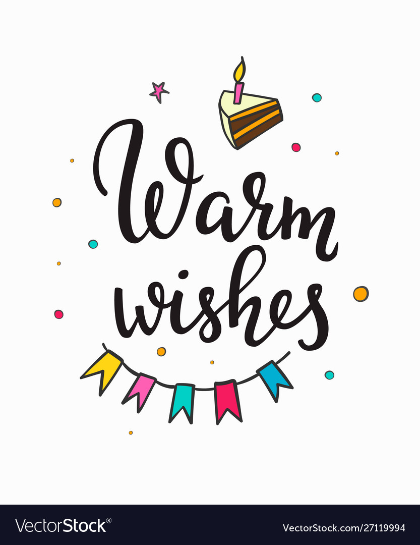 Warm wish birthday party lettering typography set