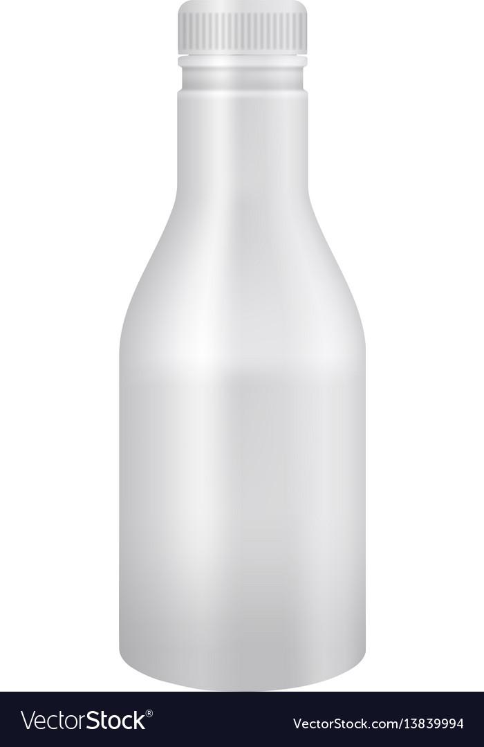 White yogurt or milk plastic bottle mockup vector image
