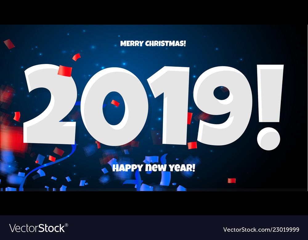 2019 happy new year red blue and white calendar
