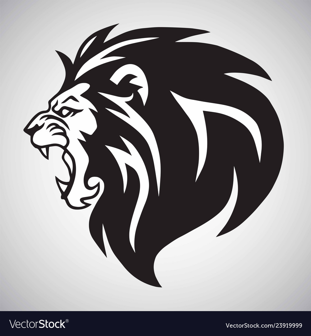 Angry lion roaring logo mascot design