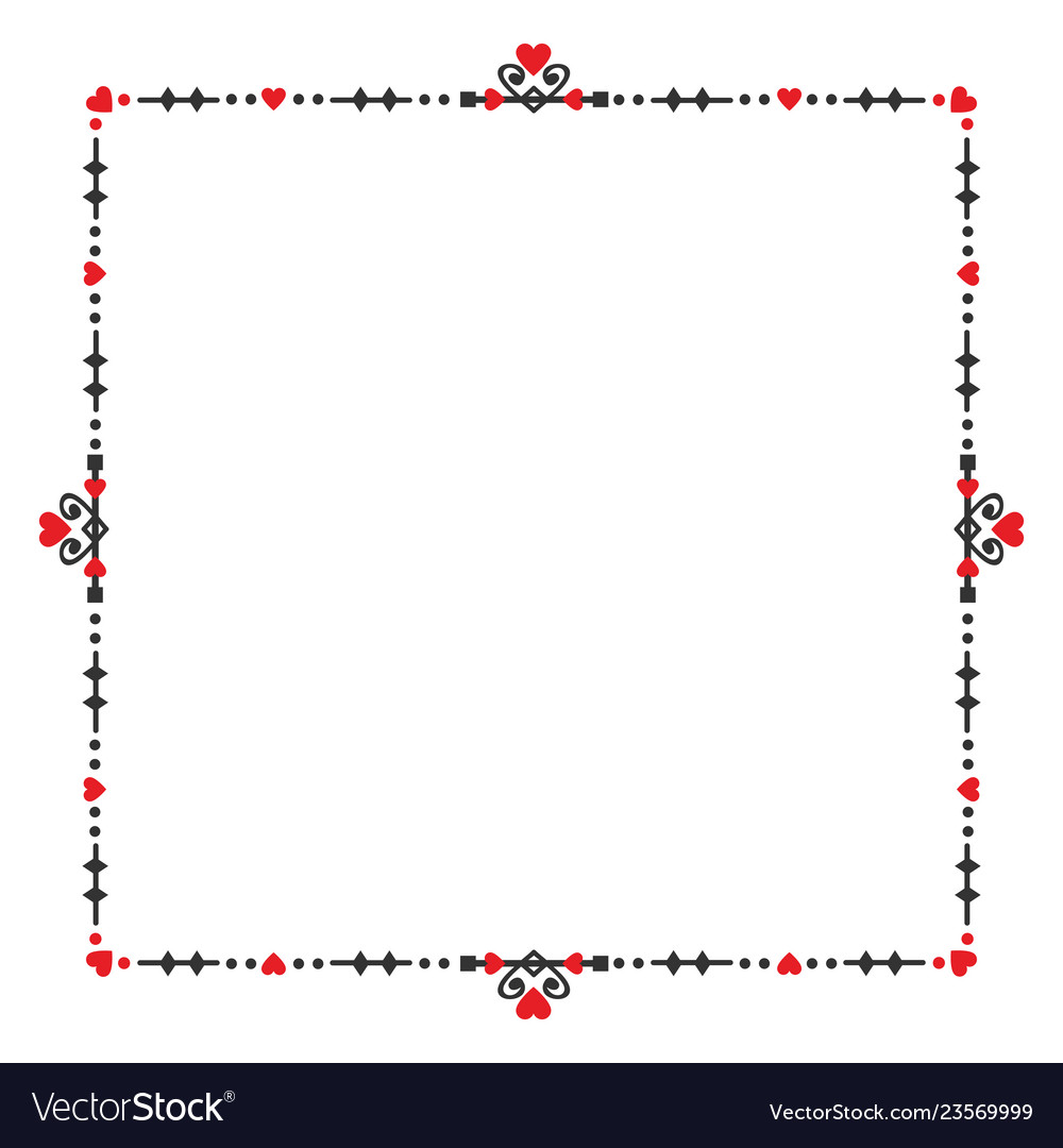 Black and red blank heart square banner embelm