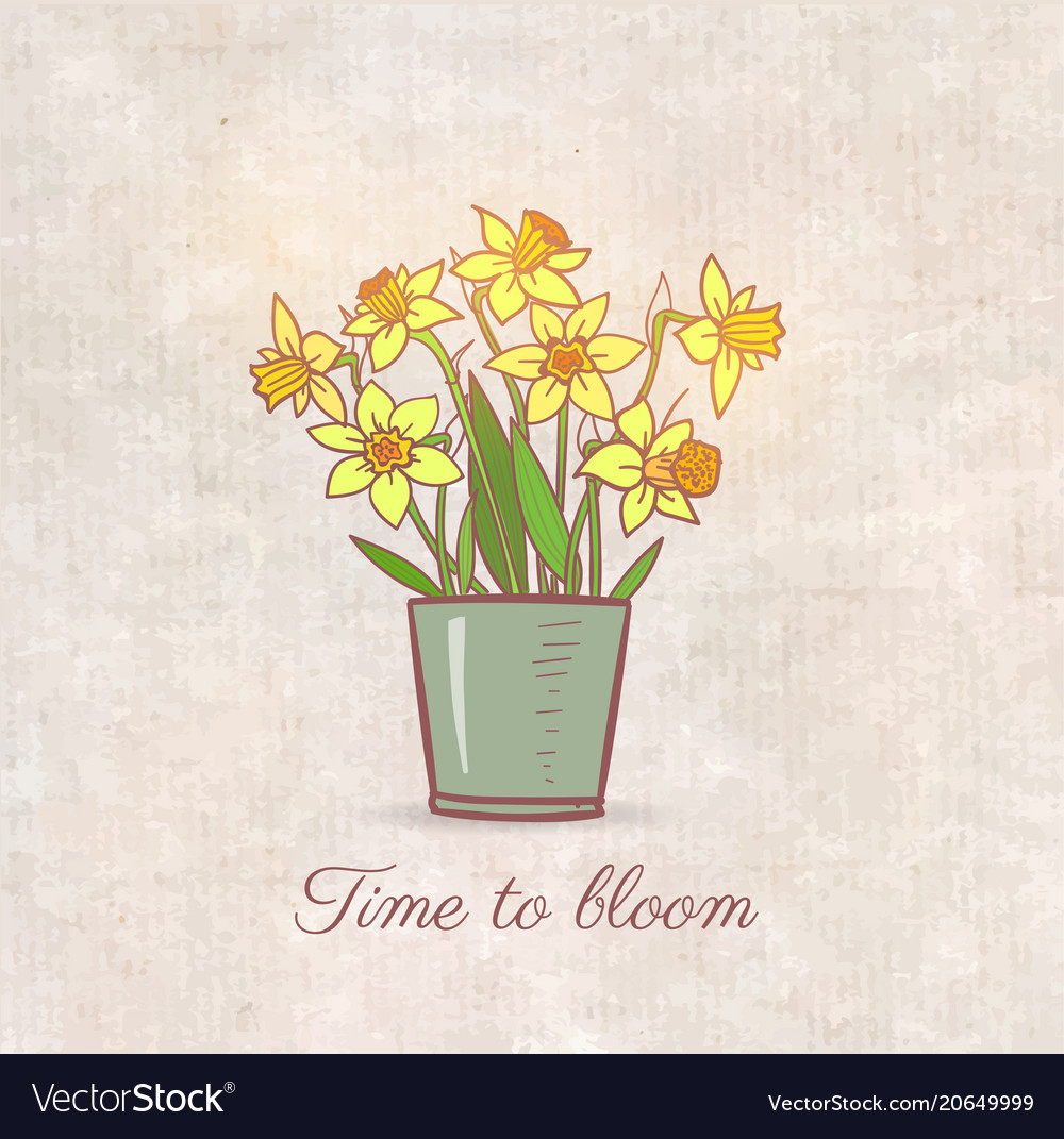 Bouquet of yellow daffodiles on vintage background vector image