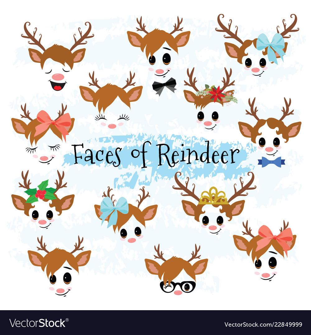 Christmas decor reindeer faces clipart