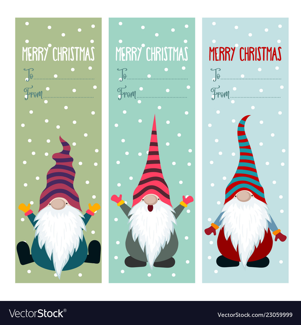 Christmas Gnomes.Christmas Labels Collection With Gnomes