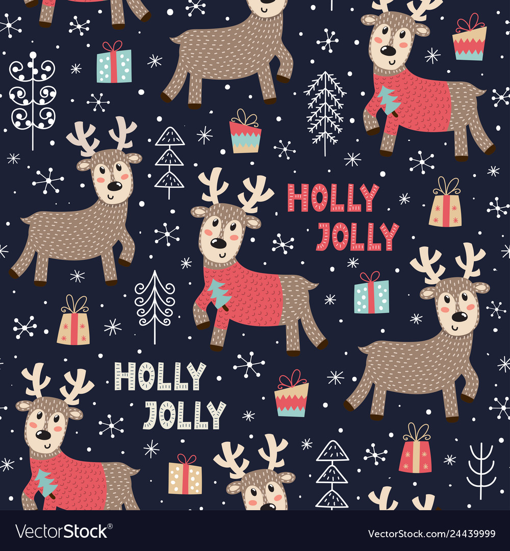 Christmas seamless pattern with a cute deer