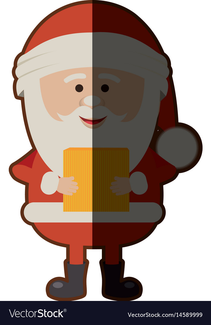 Colorful silhouette of santa claus with package