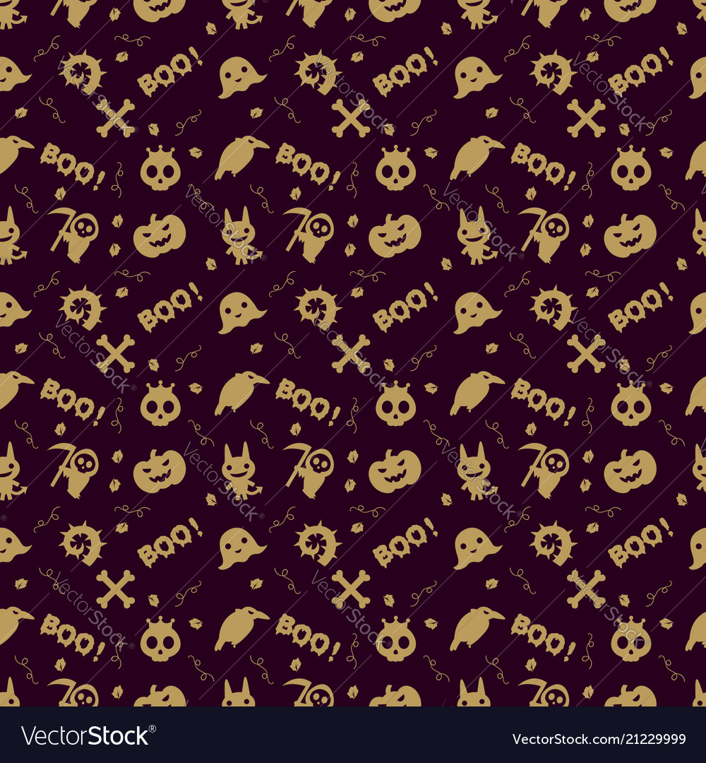 Cute halloween pattern background with gold color