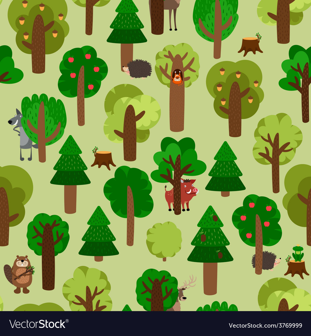 Forest seamless pattern with trees and animals vector image