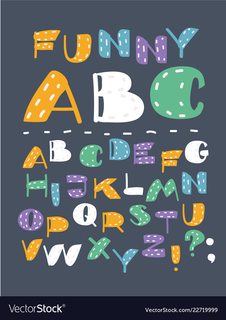 Hand drawn abc english capital letters set