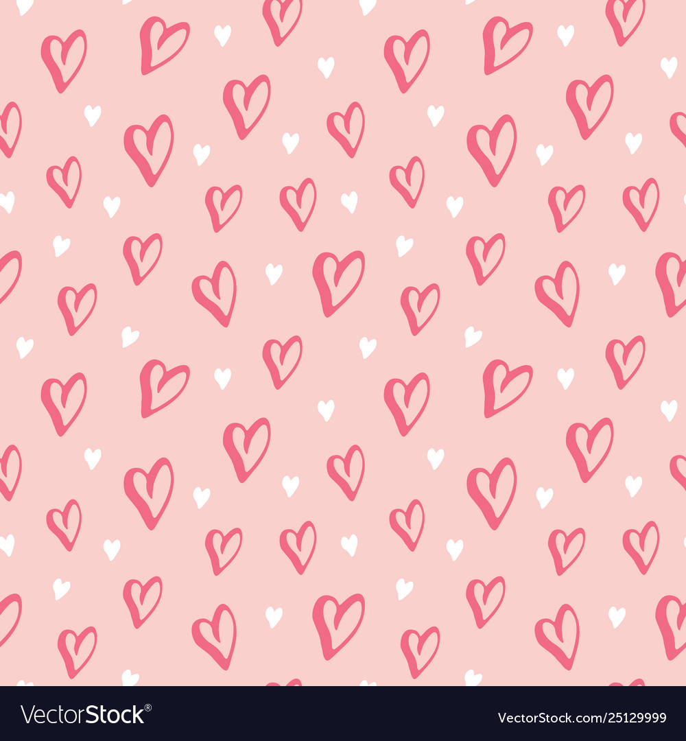 Heart symbol seamless pattern hand drawn sketch