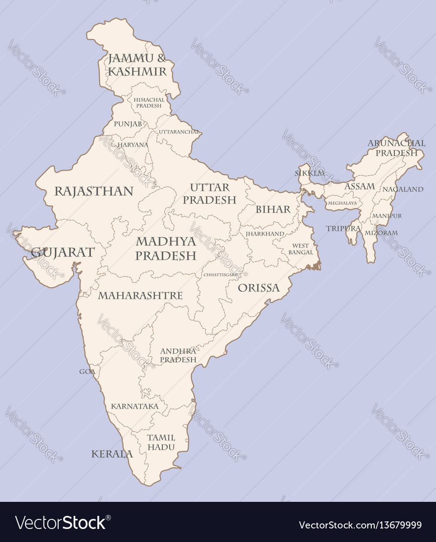 India contour map with states Royalty Free Vector Image