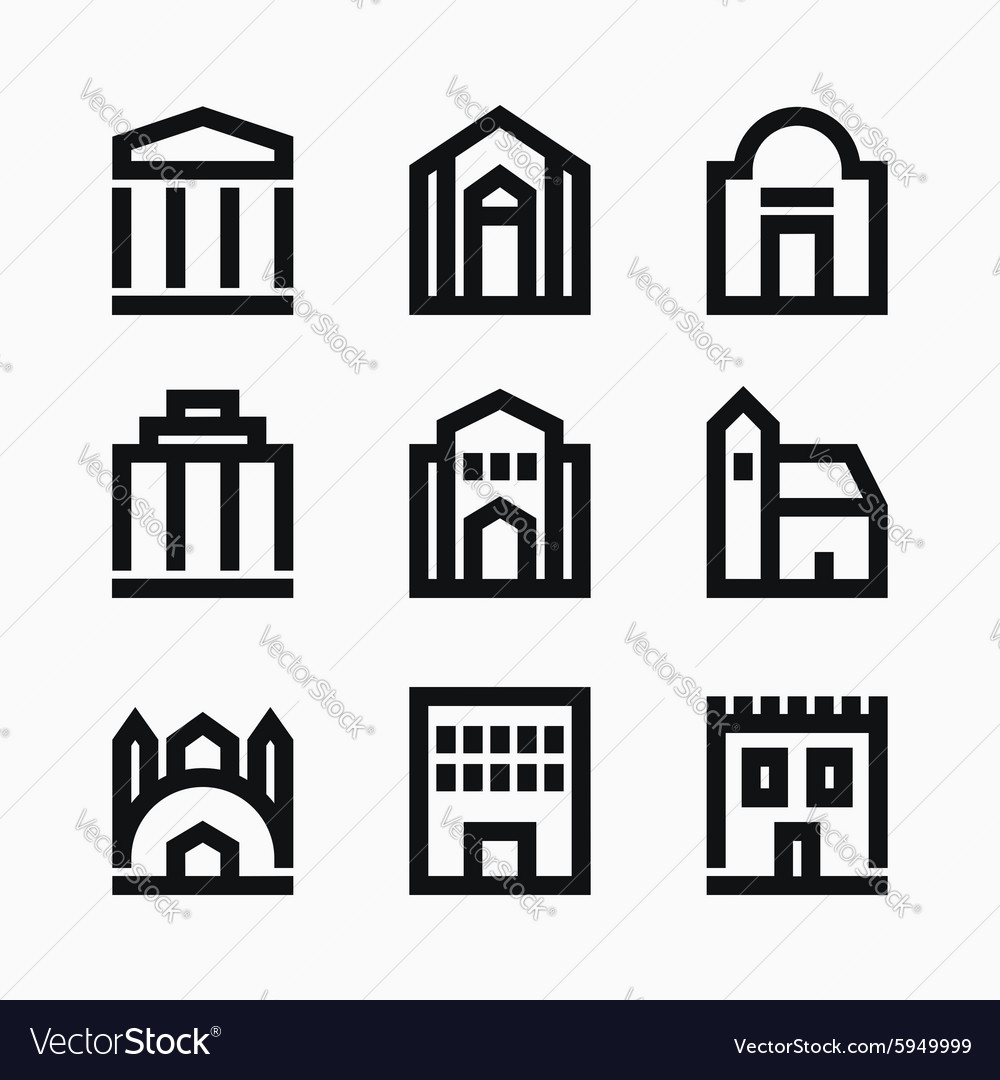 Line buildings icons