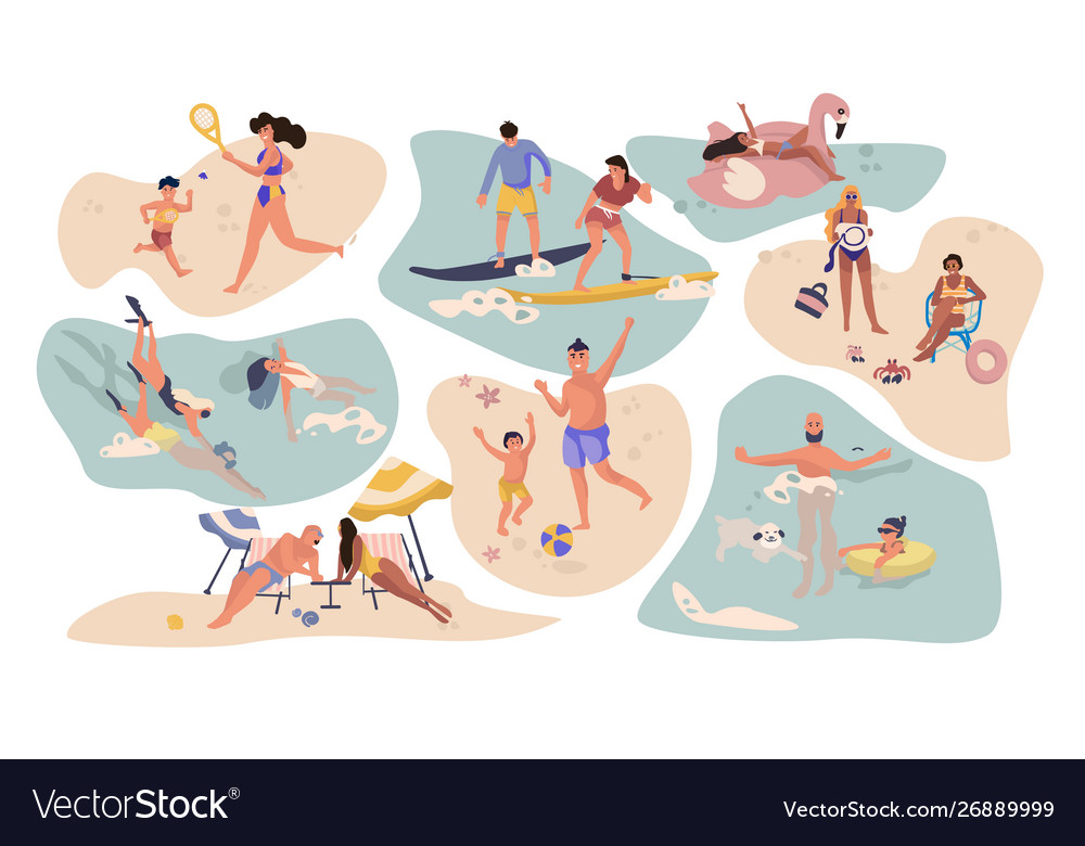 People beach activities cartoon characters on