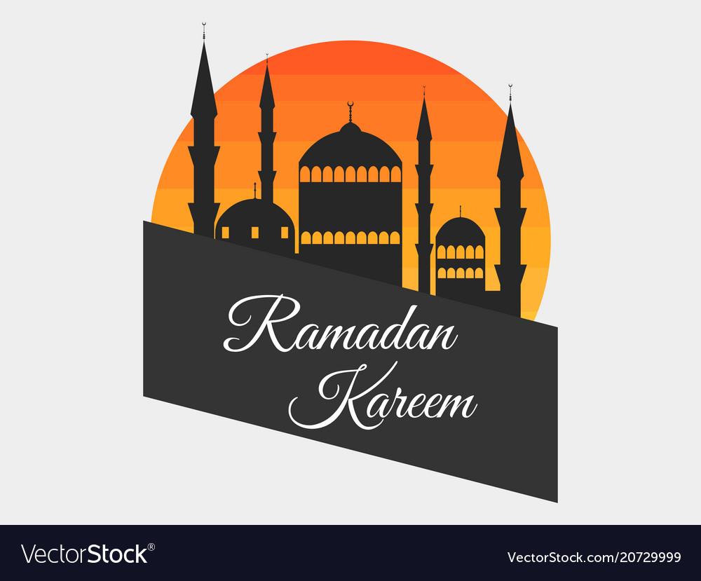 Ramadan kareem mosque in the background