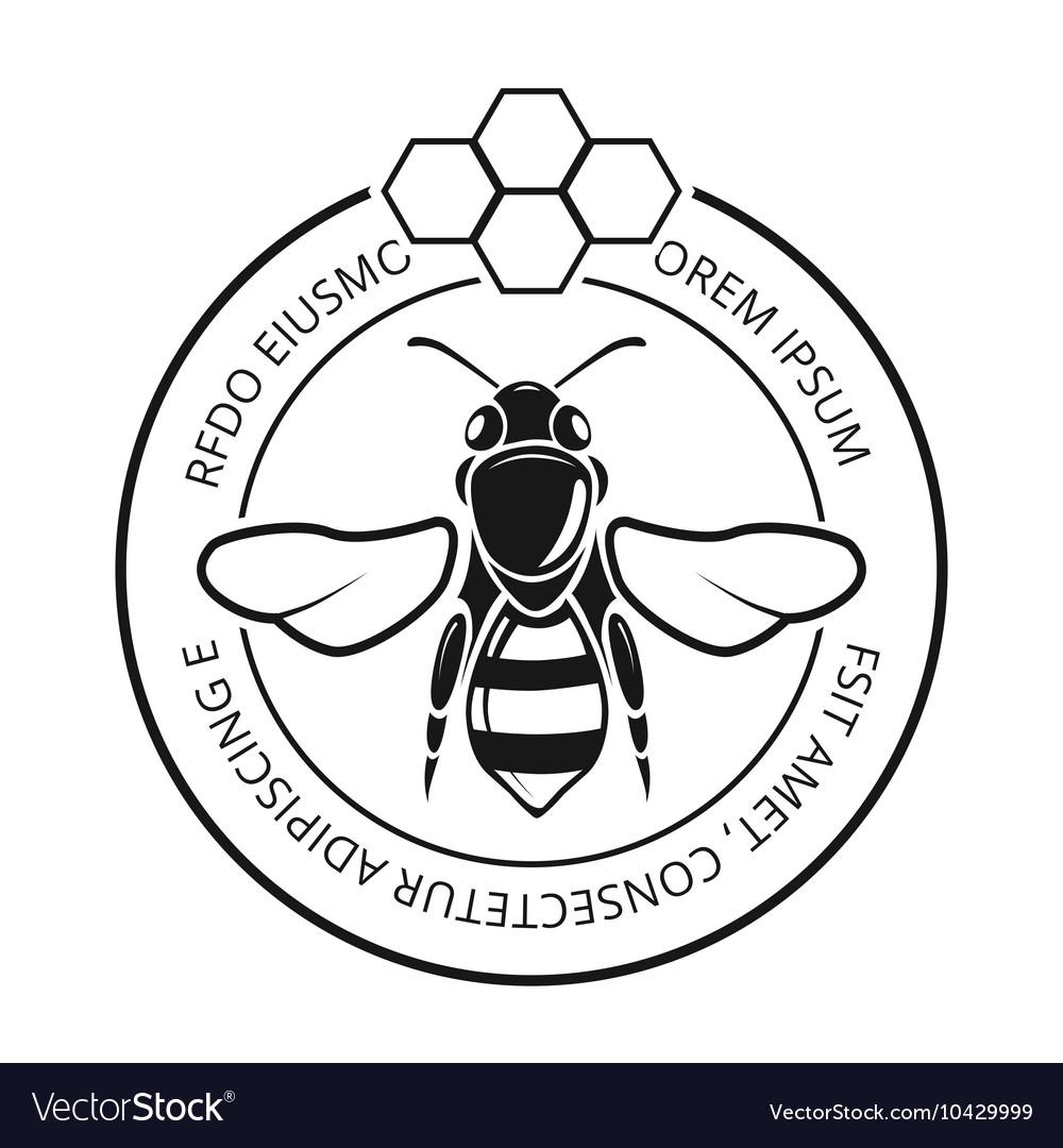 Retro honeybee beekeeper honey logo