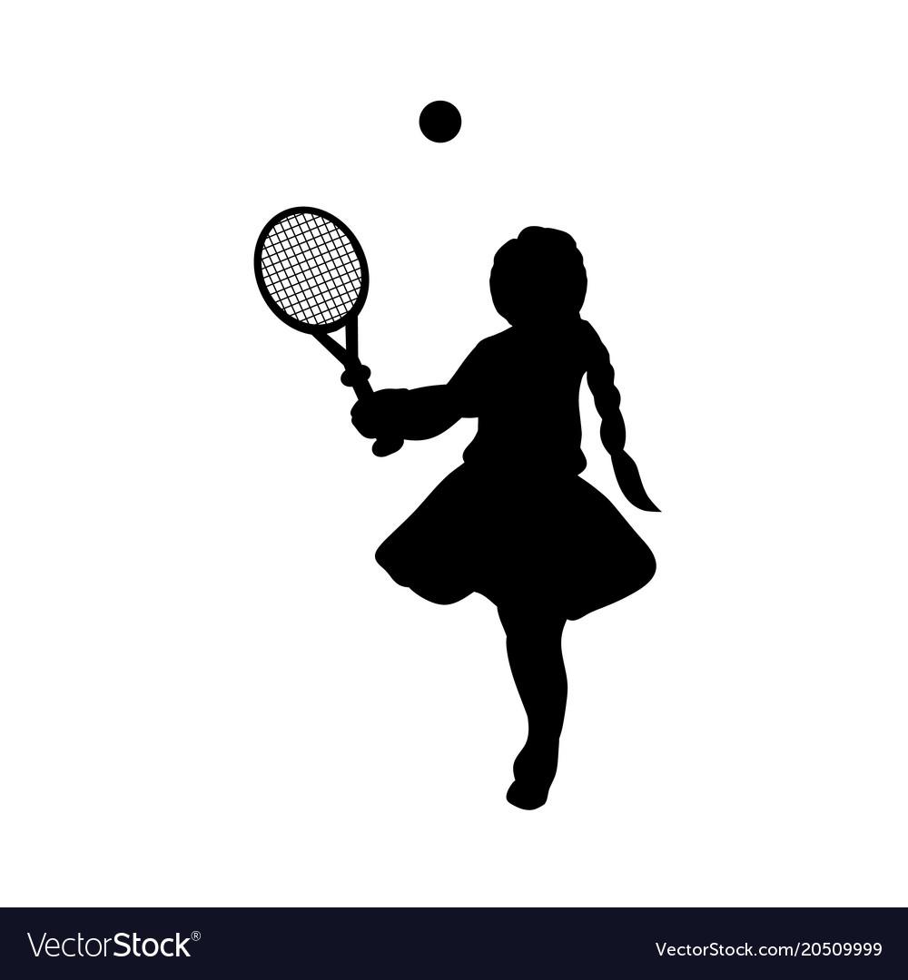 Silhouette girl sport play tennis