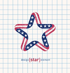 hand draw star with american flag colors and vector image