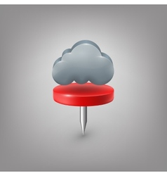Red pin icon weather Cloud vector image vector image