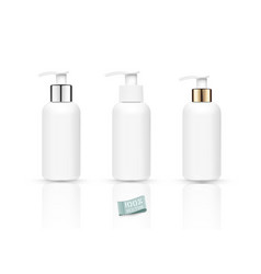 set realistic bottles with soap pump isolated vector image