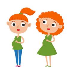 color cute cartoon pregnant vector image vector image