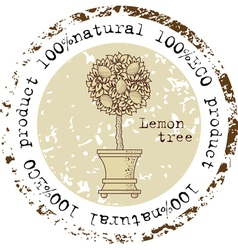 Grunge rubber stamp with lemon tree vector image