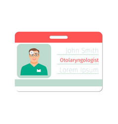 otolaryngologist medical specialist badge vector image vector image